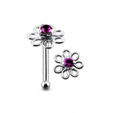 Filigree Jeweled Handmade Ball End Nose Pin