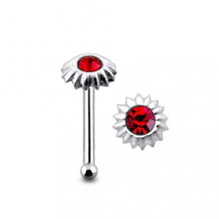Jeweled Sunflower Ball End Nose Pin