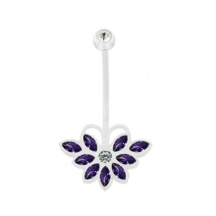 14G BioFlex Base CZ Jeweled Butterfly Navel Ring