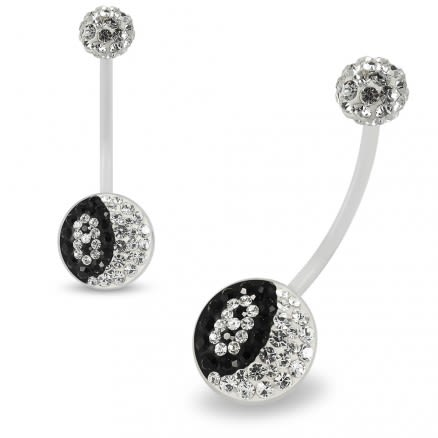 Multi Crystals jeweled Number 8 Transparent BioFlex with Crystal Ferido Ball Top pregnancy Belly Ring