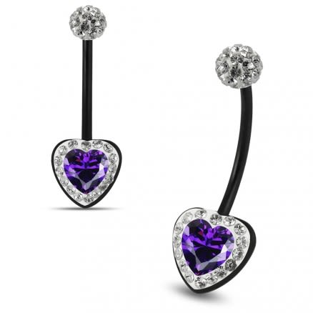 Multi Crystals jeweled Purple Heart center Black BioFlex with Crystal Ferido Ball Top pregnancy Belly Ring