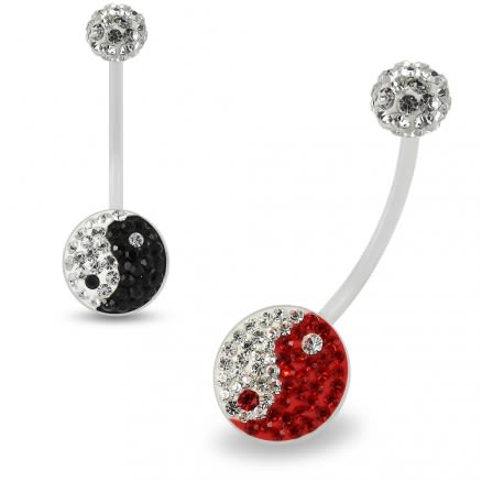 Multi Crystals jeweled yin yang Transparent BioFlex with Crystal Ferido Ball Top pregnancy Belly Ring