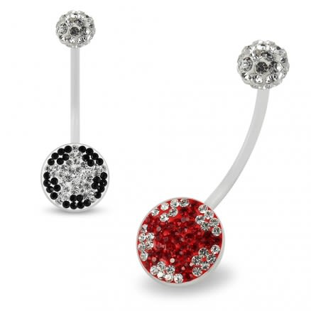 Multi Crystals jeweled star Transparent BioFlex with Crystal Ferido Ball Top pregnancy Belly Ring