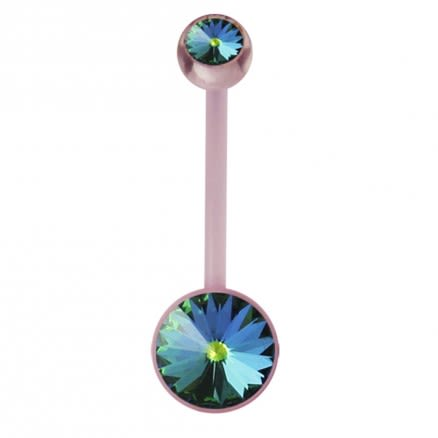 Pink BioFlex base Jeweled Belly Ring