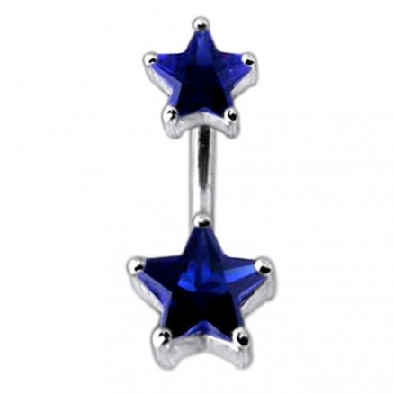 Jeweled Star shaped Stone Spinal Belly Button Ring