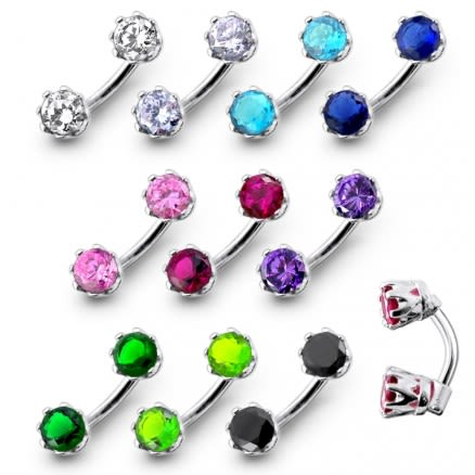 Jeweled Prong Set Stones Spinal Belly Button Ring