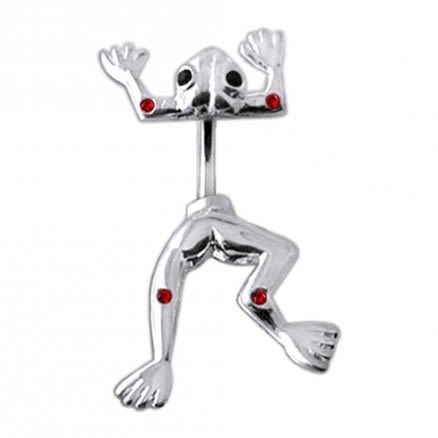 Jeweled Jumping Frog Spinal Belly Button Ring