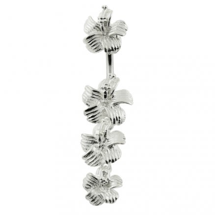 Hibiscuss Flower Dangling Spinal Belly Button Ring