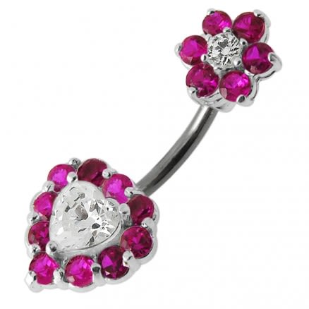Jeweled Heart with Flower Spinal Belly Button Ring