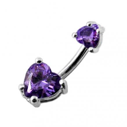 Jeweled Hearts Spinal Belly Button Ring