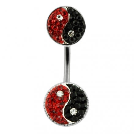 Twin Ying Yang Spinal belly button ring