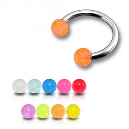 SS Circular Barbells with Orange UV Balls Body Jewelry