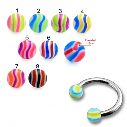 SS Circular Barbells Horseshoe With 3mm Multi Color UV Balls