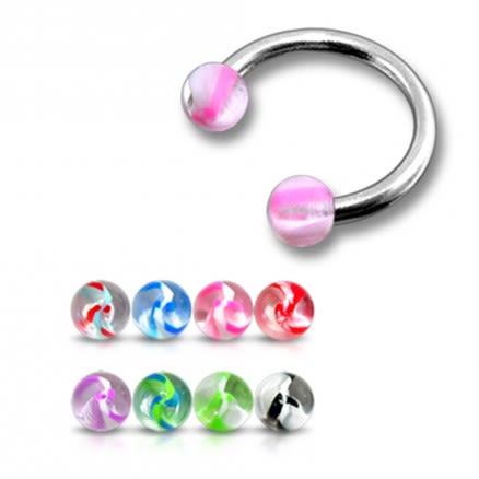 SS Circular Barbells with Mixed UV Balls Body Jewelry