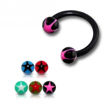 Black UV Circular Barbell with Pink Star UV Balls