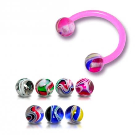 Pink Horseshoes UV Circular Barbell Eyebrow Or Lip Ring with UV Balls