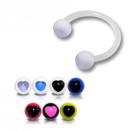 White UV Horseshoes Circular Barbell with UV Balls