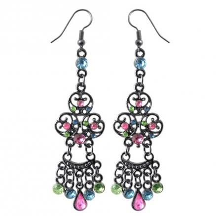 Multi Crystal Dangling Costume Earring CLER024