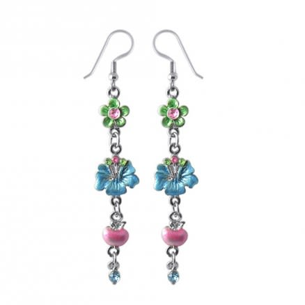 Multi Flower Costume Dangling Earring With Crystal