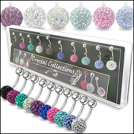 Multi Crystal Stone Balls With Banana Bar Belly Rings in Display