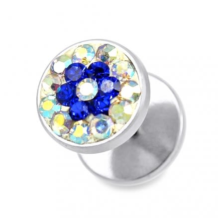 Rainbow And Blue Crystal Stone SS Ear Stud Earring