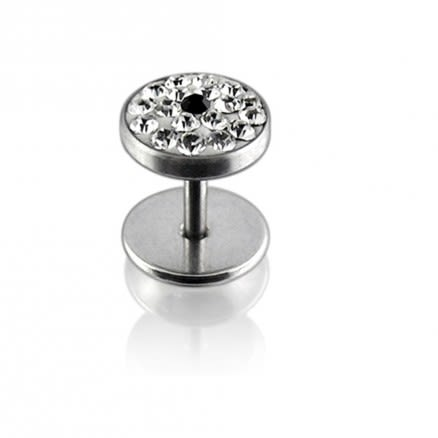316L SS White Crystal Stone Ear Plug