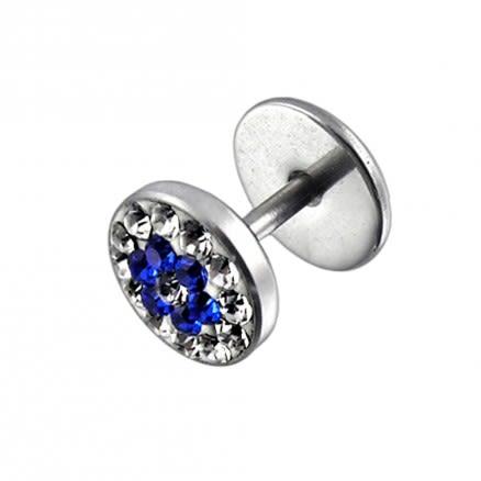 316L SS Blue Crystal Stone Studded Ear Plug