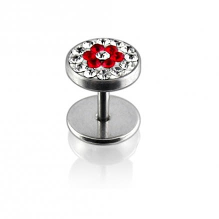 Star Logo In Red And White Crystal Stone 316L SS Ear Plug