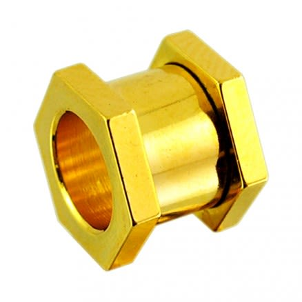 Hexagon Gold Anodised Ear Flesh Tunnel