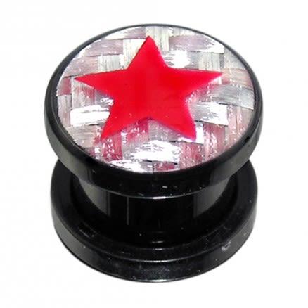 Screw Fit Ear Flesh Tunnel With Star Logo