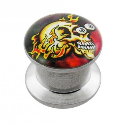 Internally threaded Firing Skull Logo Ear Flesh Tunnel
