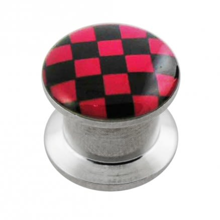 Internally threaded Checker Logo Ear Flesh Tunnel
