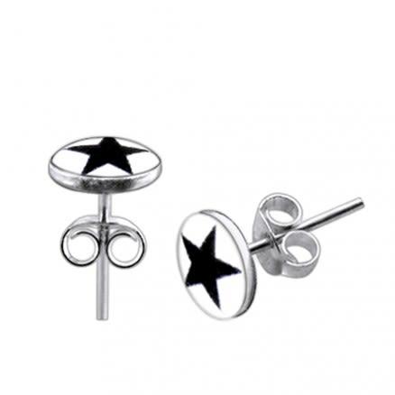 Black Star Logo Silver Earring