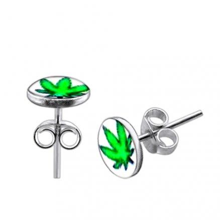Green Marijuana Logo Silver Earring
