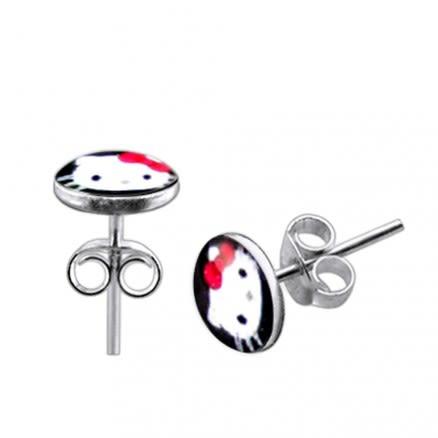 Hello Kitty Logo Silver Earring