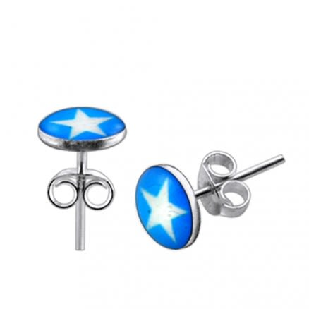 White Star Silver Earring