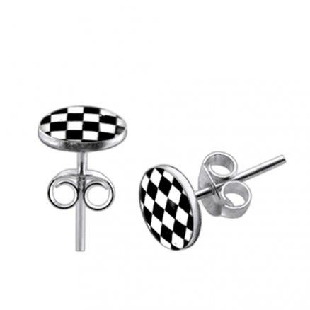 Checker Logo Silver Earring