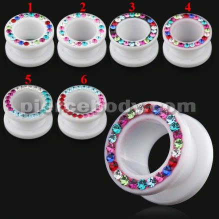 UV Milk White Flesh Tunnel with Multi color Stones in Ferido Glue Setting