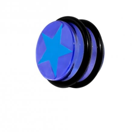 UV Fancy Transparent Red Star Ear Plug with O Ring