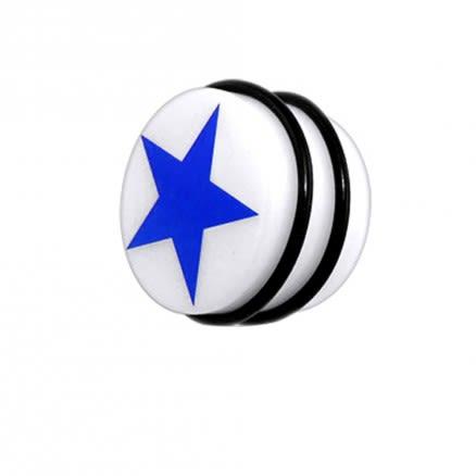 UV Fancy Blue Star Ear Stud With O Ring