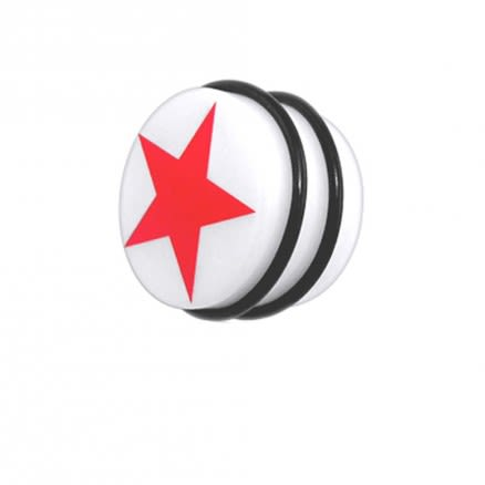 UV Fancy Red Star Ear Stud Earring with 'O' Ring