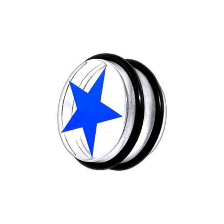 UV Fancy Blue Star Ear Plug With 'O' Ring