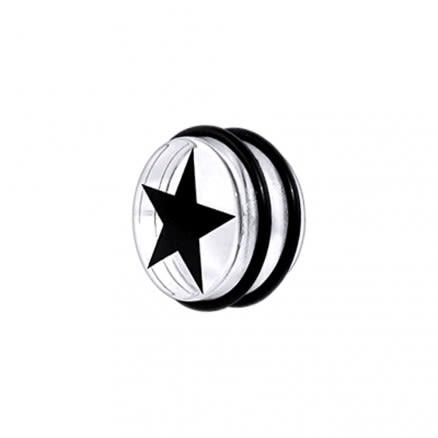 UV Fancy Black Star Ear Plug with 'O' Ring EAR909