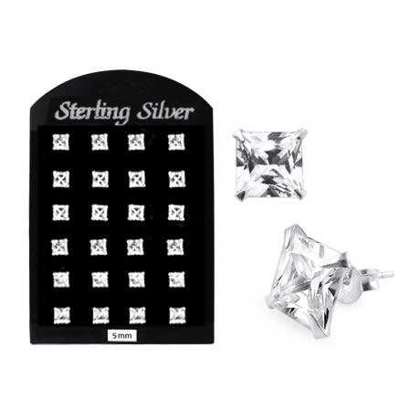 5MM CZ Square Ear Stud in 12 pair Tray