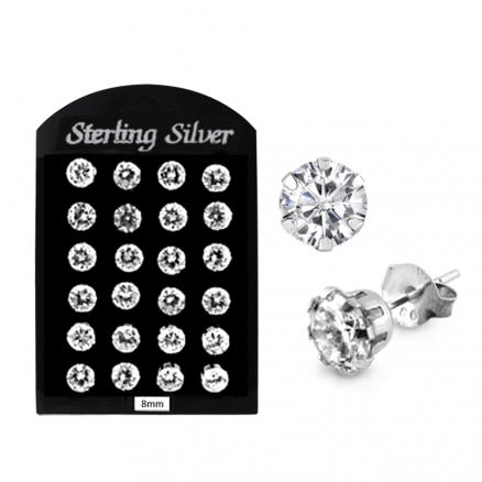 8MM CZ Round Ear Stud in 12 pair Tray