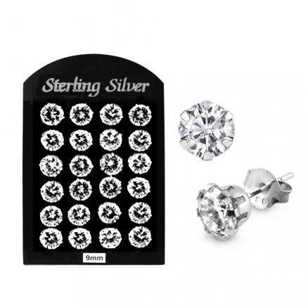 9MM CZ Round Ear Stud in 12 pair Tray