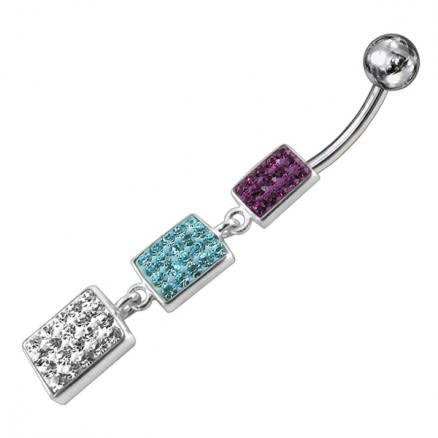 Triple Color Crystal Stone Silver Dangling SS Bar Belly Ring