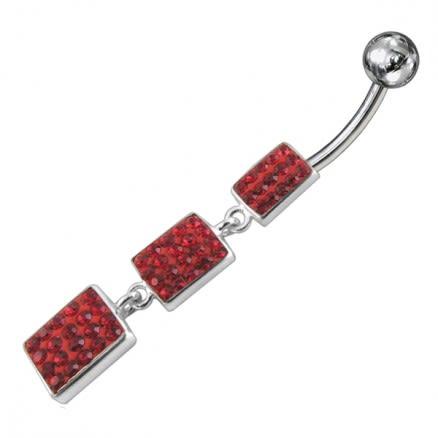 Red Color Crystal Stone Silver Dangling SS Bar Banana Bar Navel Ring