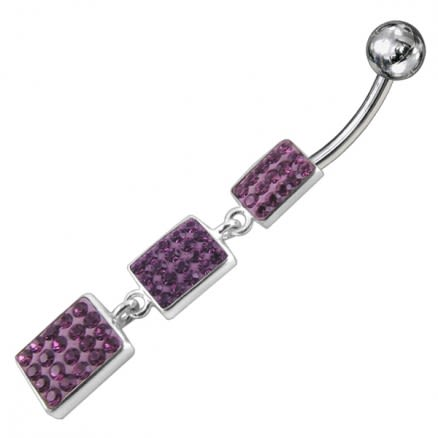 Multi Small Crystal Stone Studded Dangling Banana Bar Navel Belly Ring