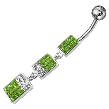 Green And White Crystal Stone Dangle With Banana Belly Ring